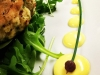 Fresh Picked Crab-cake with House Seasoning and No Filler, Arugula, Lemon Aioli and Chive Bud
