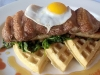 Local Quail Egg, Duck Breast, Garden Chard Waffles, Hot Sauce and Maine Maple Syrup