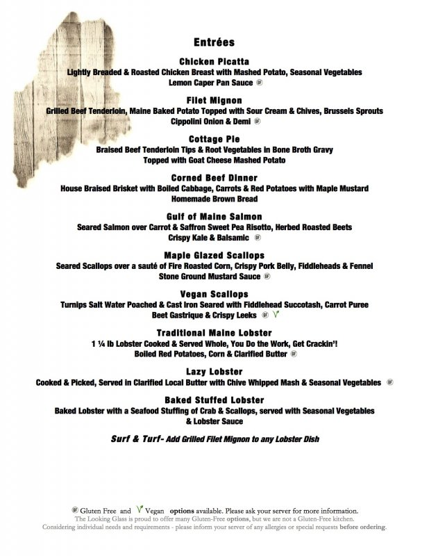 Bar Harbor Dinner Menu  Lobster Local Fare And More